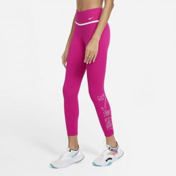 Nike ONE ICON CLASH WO 7/8 GRAPHIC TIGHTS, ženske 7/8 hlače za fitnes, roza
