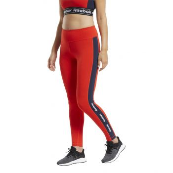 Reebok TE LINEAR LOGO CT LEGGING, ženske helanke za fitnes, crvena